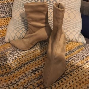 Theory Women's Natural Faux Suede Sock Boot